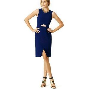 BCBGMAXAZRIA sleeveless faux wrap dress w/ cutout